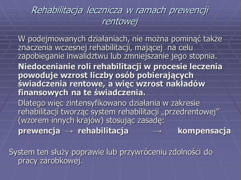 Rehabilitacja lecznicza w ramach prewencji rentowej W podejmowanych działaniach, nie można pominąć także znaczenia wczesnej rehabilitacji, mającej na celu zapobieganie inwalidztwu lub zmniejszanie jego stopnia.
