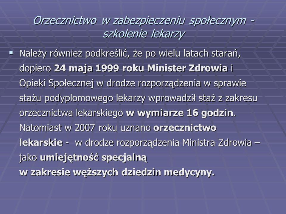 Orzecznictwo w zabezpieczeniu społecznym - szkolenie lekarzy  Należy również podkreślić, że po wielu latach starań, dopiero 24 maja 1999 roku Ministe