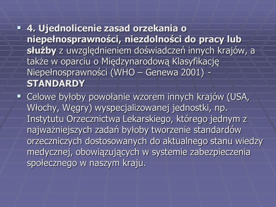  4. Ujednolicenie zasad orzekania o niepełnosprawności, niezdolności do pracy lub służby z uwzględnieniem doświadczeń innych krajów, a także w oparci