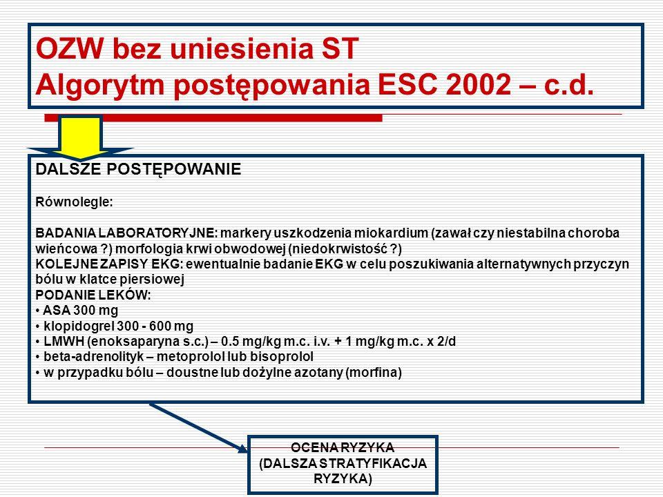 OZW bez uniesienia ST Algorytm postępowania ESC 2002 KLINICZNE PODEJRZENIE OZW Wywiad, objawy kliniczne, cechy bólu wieńcowego KLINICZNE ROZPOZNANIE R