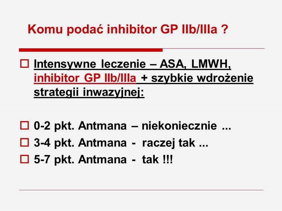 Standardy ESC 2002 Chorzy wysokiego ryzyka – ASA, LMWH, klopidogrel, inhibitor GP IIb/IIIa + szybkie wdrożenie strategii inwazyjnej – CHORZY Z: 1. prz