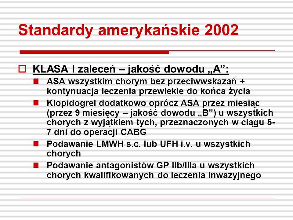 Standardy ESC 2002  EBM – wczesne podanie = zmniejszenie niedokrwienia – I klasa zaleceń Beta-adrenolitykiA Heparyny drobnocząsteczkoweA KlopidogrelB