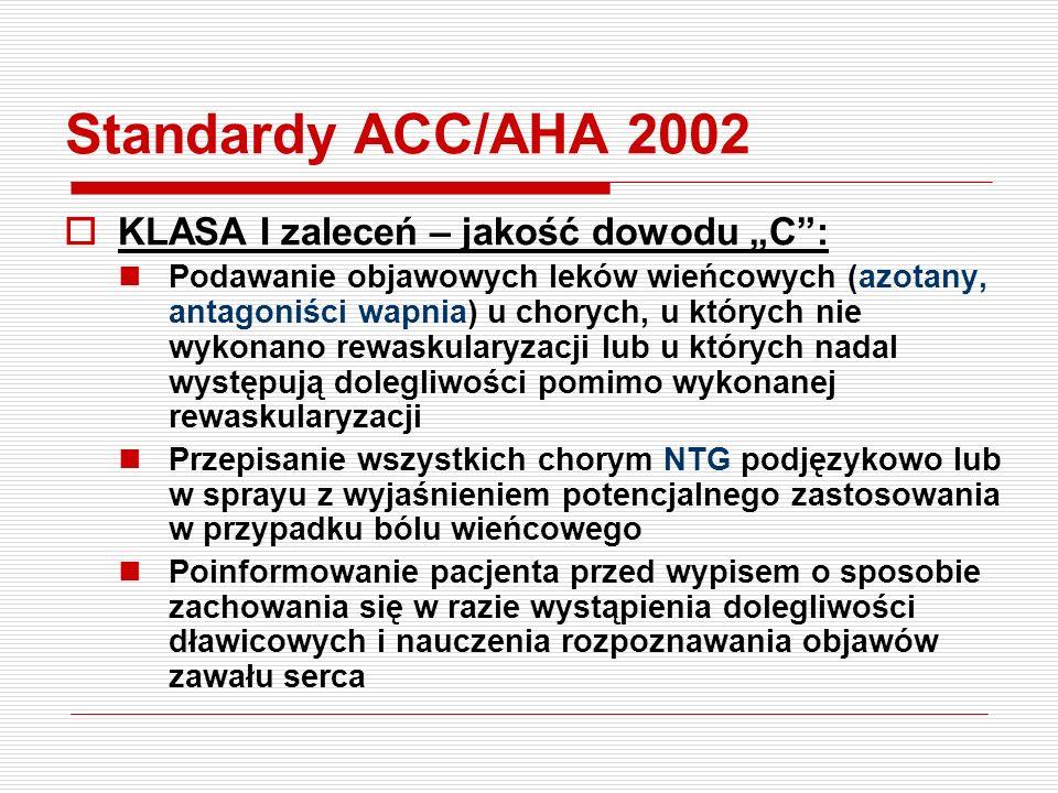 """Standardy ACC/AHA 2002  KLASA I zaleceń – jakość dowodu """"A"""": ASA wszystkim chorym bez przeciwwskazań - kontynuacja leczenia przewlekle do końca życia"""
