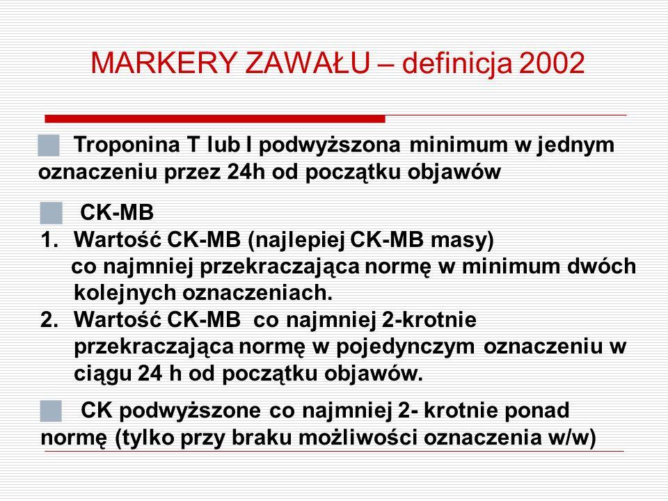 MARKERY ZAWAŁU – definicja 2002  Troponina T lub I podwyższona minimum w jednym oznaczeniu przez 24h od początku objawów  CK-MB 1.Wartość CK-MB (najlepiej CK-MB masy) co najmniej przekraczająca normę w minimum dwóch kolejnych oznaczeniach.