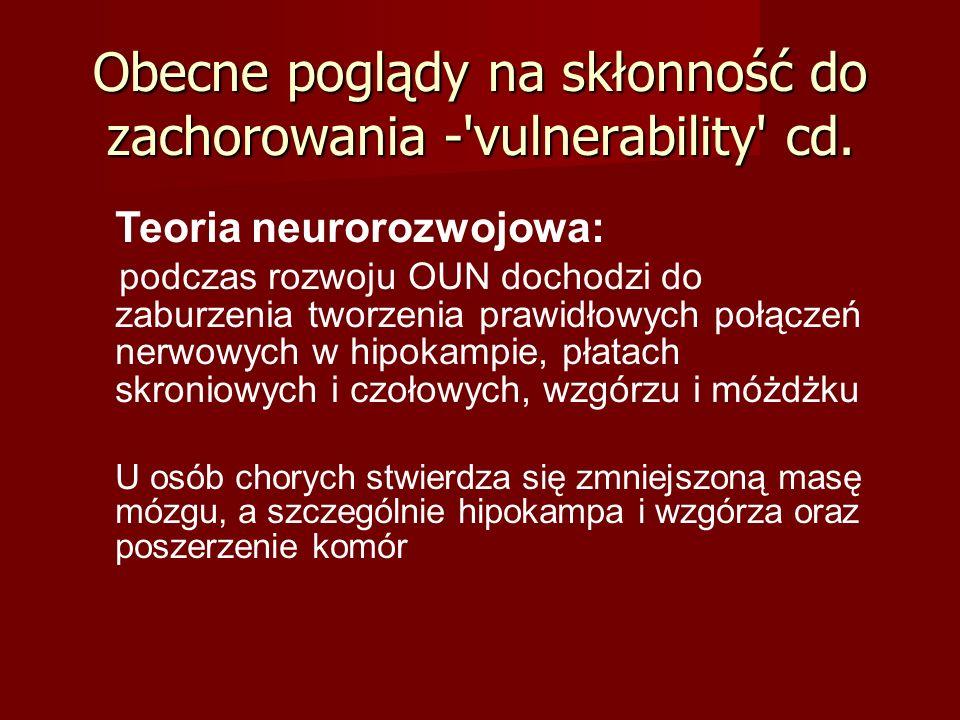 Schizofrenia katatoniczna Proces chorobowy, na który składają się objawy osiowe schizofrenii i objawy zespołu katatonicznego (zaburzenia napędu psychoruchowego, kontaktu z pacjentem, odmowa jedzenia i picia) Proces chorobowy, na który składają się objawy osiowe schizofrenii i objawy zespołu katatonicznego (zaburzenia napędu psychoruchowego, kontaktu z pacjentem, odmowa jedzenia i picia) Przebieg: Przebieg: od zahamowanie psychoruchowego, mutyzmu, negatywizmu, do pobudzenia psychoruchowego, z dużym rozkojarzeniem, dziwacznym zachowaniem ze stereotypiami ruchowymi, grymasami, automatyzmami raptus catatonicus