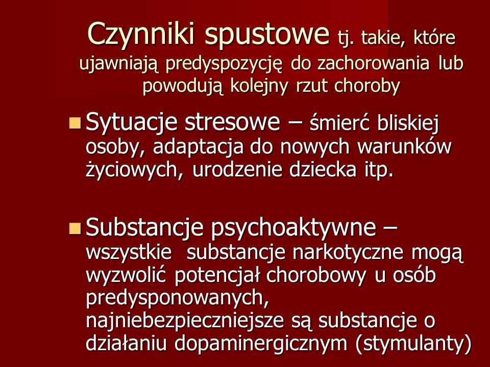 Mechanizmy neurobiologiczne schizofrenii – udowodnione empirycznie Nadaktywność dopaminergiczna Nadaktywność dopaminergiczna ✗ antagoniści receptorów D2- neuroleptyki działają p/psychotycznie ✗ psychozotwórcze właściwości amfetaminy i jej pochodnych ✗ terapia sterydowa może wywołać psychozę - sterydy stymulują układ dopaminergiczny Nadaktywność serotoninergiczna Nadaktywność serotoninergiczna Antagoniści receptorów 5HT2A działają p/autystycznie i nasennie Zaburzenia w funkcjonowaniu fosfolipidowej błony komórkowej rzutujące na pracę receptorów komórko wych Zaburzenia w funkcjonowaniu fosfolipidowej błony komórkowej rzutujące na pracę receptorów komórko wych