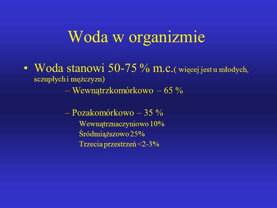 Woda w organizmie Woda stanowi 50-75 % m.c.
