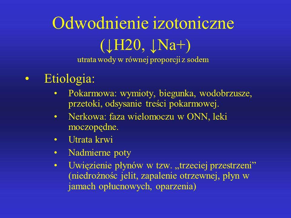Różnicowanie głównych rodzajów zaburzeń wodnych opiera się na zrozumieniu roli jonu Na – jest to główny kation przestrzeni ZK, decydujący o efektywnej