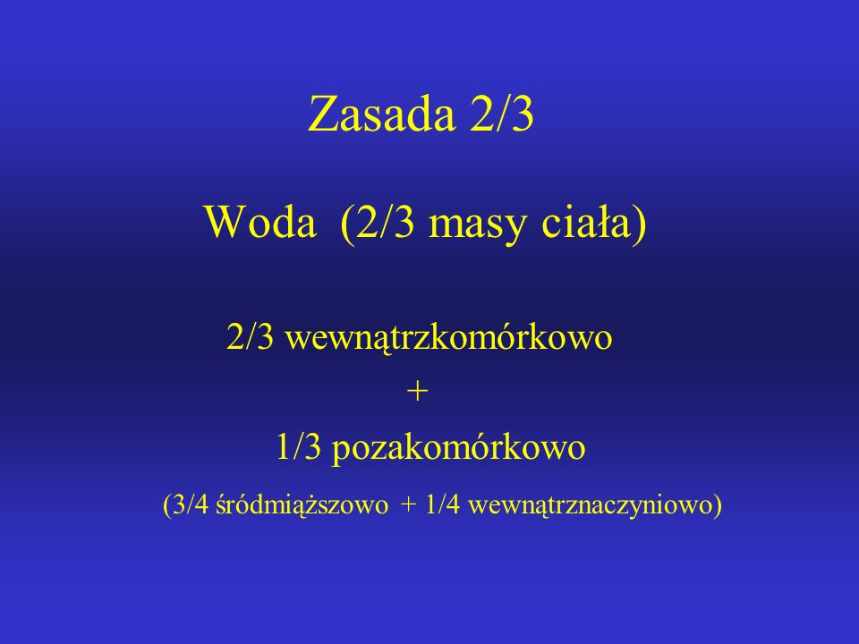 Zasada 2/3 Woda (2/3 masy ciała) 2/3 wewnątrzkomórkowo + 1/3 pozakomórkowo (3/4 śródmiąższowo + 1/4 wewnątrznaczyniowo)