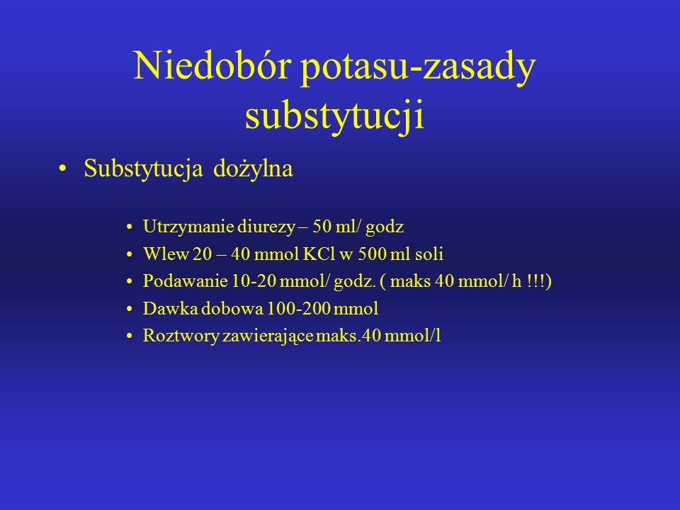 Niedobór potasu-zasady substytucji Aby podwyższyć poziom K o 1 mmol należy podać K < 3mmol/l – min. 200 mmol/ dobę K 3 – 4 mmol/l – min. 100 mmol/ dob