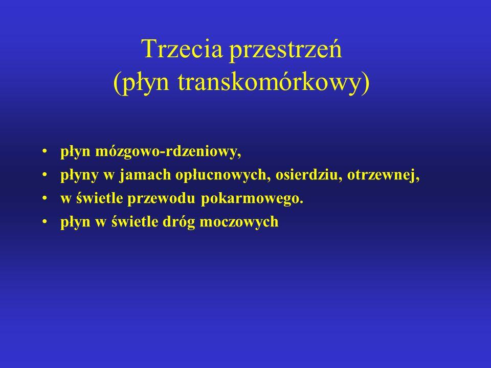 Trzecia przestrzeń (płyn transkomórkowy) płyn mózgowo-rdzeniowy, płyny w jamach opłucnowych, osierdziu, otrzewnej, w świetle przewodu pokarmowego.