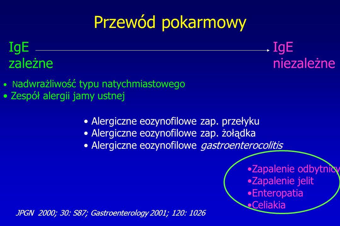 Przewód pokarmowy IgE zależne IgE niezależne N adwrażliwość typu natychmiastowego Zespół alergii jamy ustnej Zapalenie odbytnicy Zapalenie jelit Enter