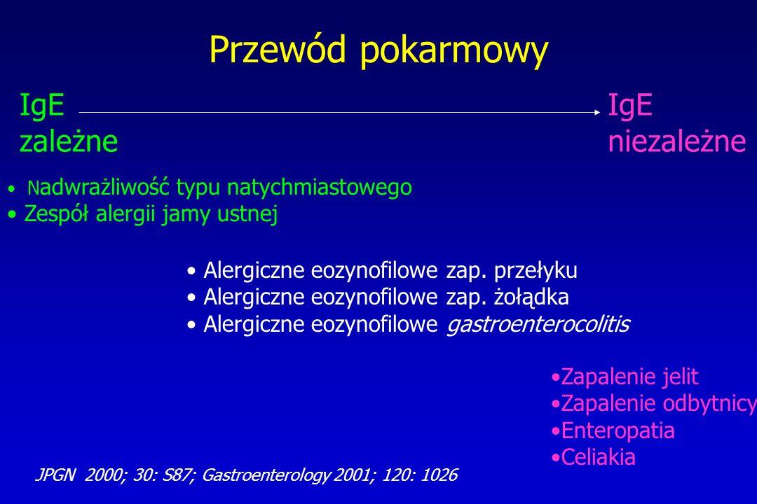 Przewód pokarmowy IgE zależne IgE niezależne N adwrażliwość typu natychmiastowego Zespół alergii jamy ustnej Zapalenie jelit Zapalenie odbytnicy Enter