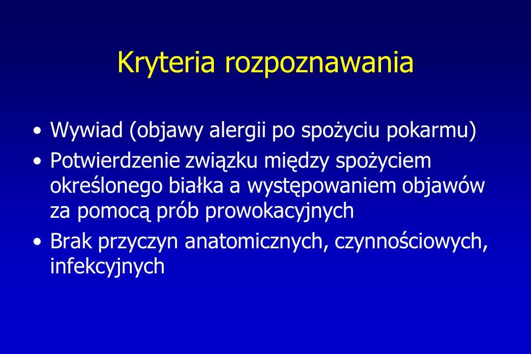 Kryteria rozpoznawania Wywiad (objawy alergii po spożyciu pokarmu) Potwierdzenie związku między spożyciem określonego białka a występowaniem objawów z