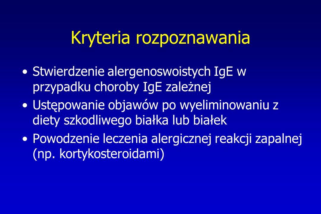 Kryteria rozpoznawania Stwierdzenie alergenoswoistych IgE w przypadku choroby IgE zależnej Ustępowanie objawów po wyeliminowaniu z diety szkodliwego b