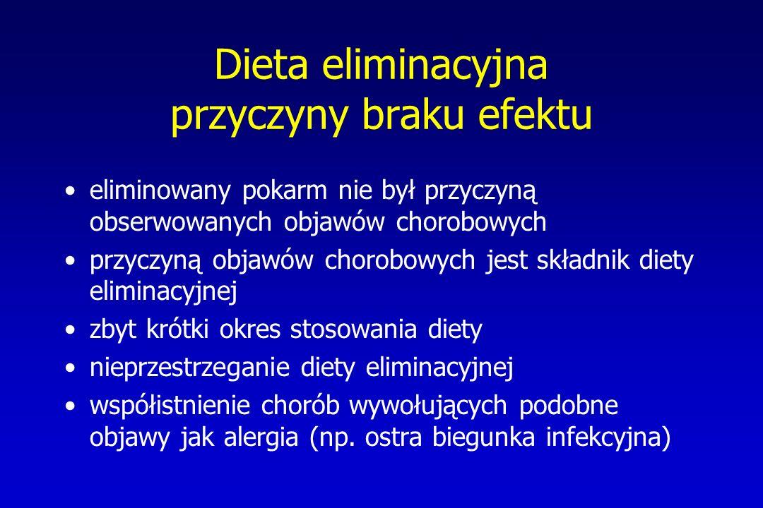 Dieta eliminacyjna przyczyny braku efektu eliminowany pokarm nie był przyczyną obserwowanych objawów chorobowych przyczyną objawów chorobowych jest sk