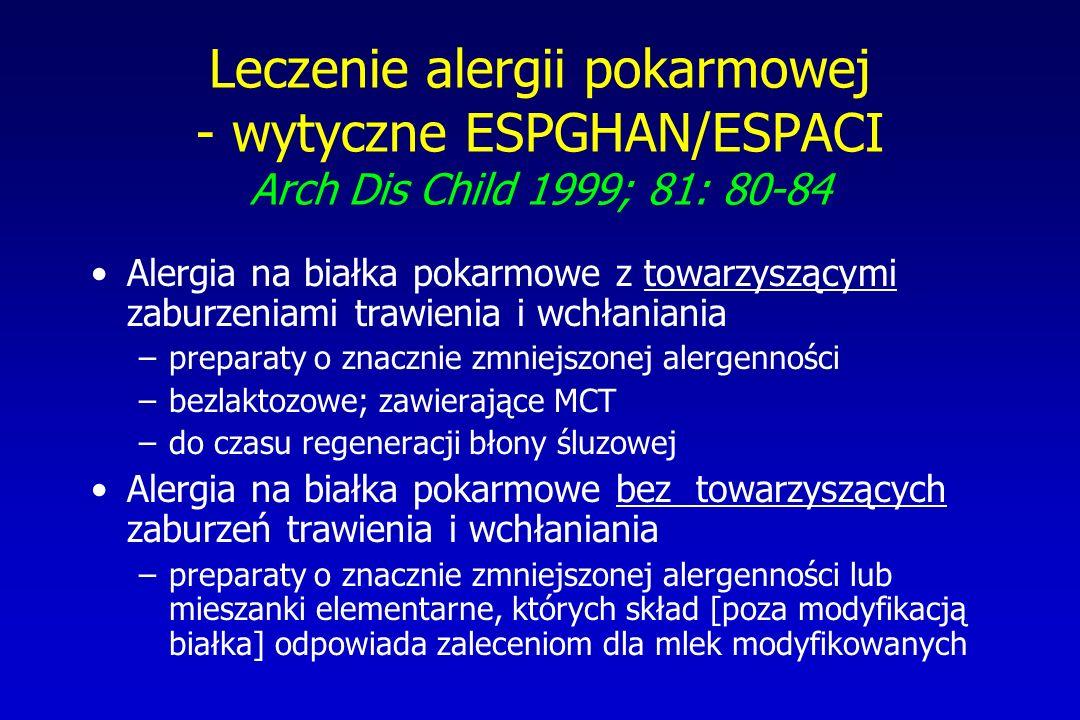 Leczenie alergii pokarmowej - wytyczne ESPGHAN/ESPACI Arch Dis Child 1999; 81: 80-84 Alergia na białka pokarmowe z towarzyszącymi zaburzeniami trawien