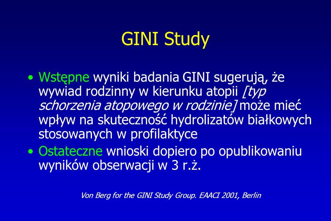 GINI Study Wstępne wyniki badania GINI sugerują, że wywiad rodzinny w kierunku atopii [typ schorzenia atopowego w rodzinie] może mieć wpływ na skutecz