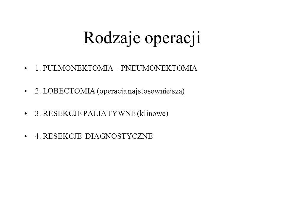 Rodzaje operacji 1. PULMONEKTOMIA - PNEUMONEKTOMIA 2. LOBECTOMIA (operacja najstosowniejsza) 3. RESEKCJE PALIATYWNE (klinowe) 4. RESEKCJE DIAGNOSTYCZN