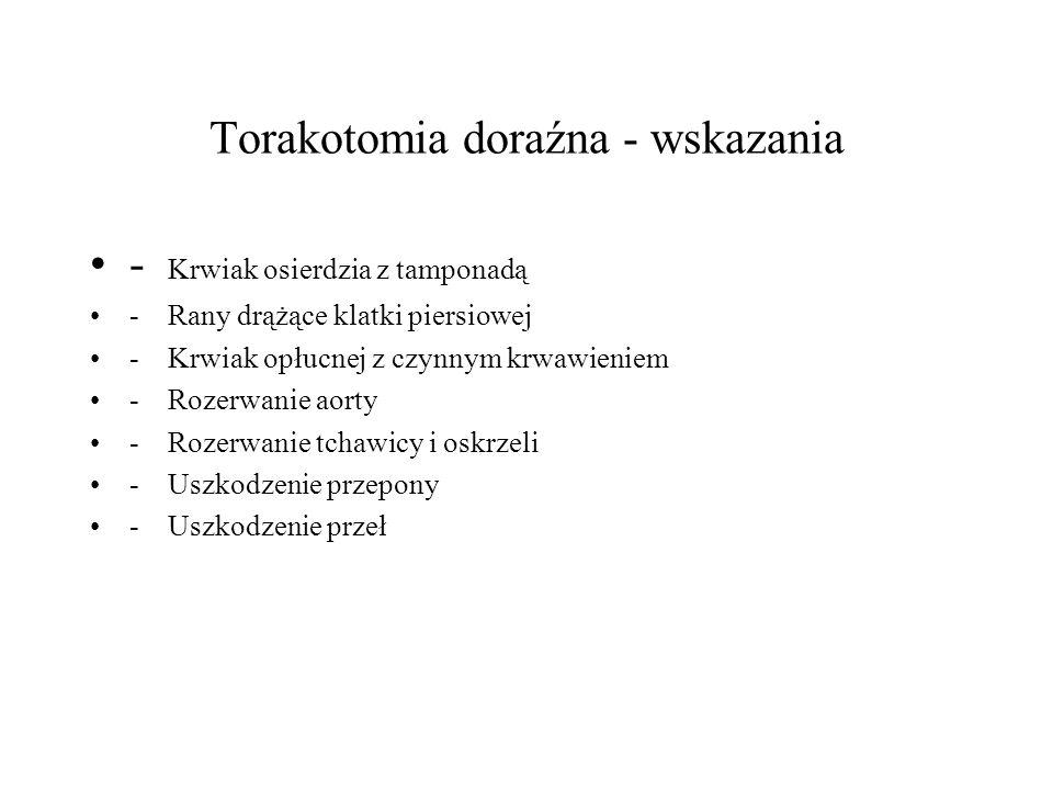Torakotomia doraźna - wskazania - Krwiak osierdzia z tamponadą - Rany drążące klatki piersiowej - Krwiak opłucnej z czynnym krwawieniem - Rozerwanie a