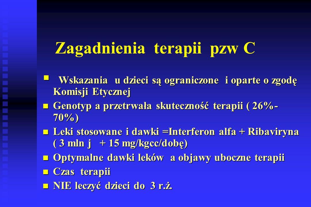 Zagadnienia terapii pzw C  Wskazania u dzieci są ograniczone i oparte o zgodę Komisji Etycznej Genotyp a przetrwała skuteczność terapii ( 26%- 70%) Genotyp a przetrwała skuteczność terapii ( 26%- 70%) Leki stosowane i dawki =Interferon alfa + Ribaviryna ( 3 mln j + 15 mg/kgcc/dobę) Leki stosowane i dawki =Interferon alfa + Ribaviryna ( 3 mln j + 15 mg/kgcc/dobę) Optymalne dawki leków a objawy uboczne terapii Optymalne dawki leków a objawy uboczne terapii Czas terapii Czas terapii NIE leczyć dzieci do 3 r.ż.