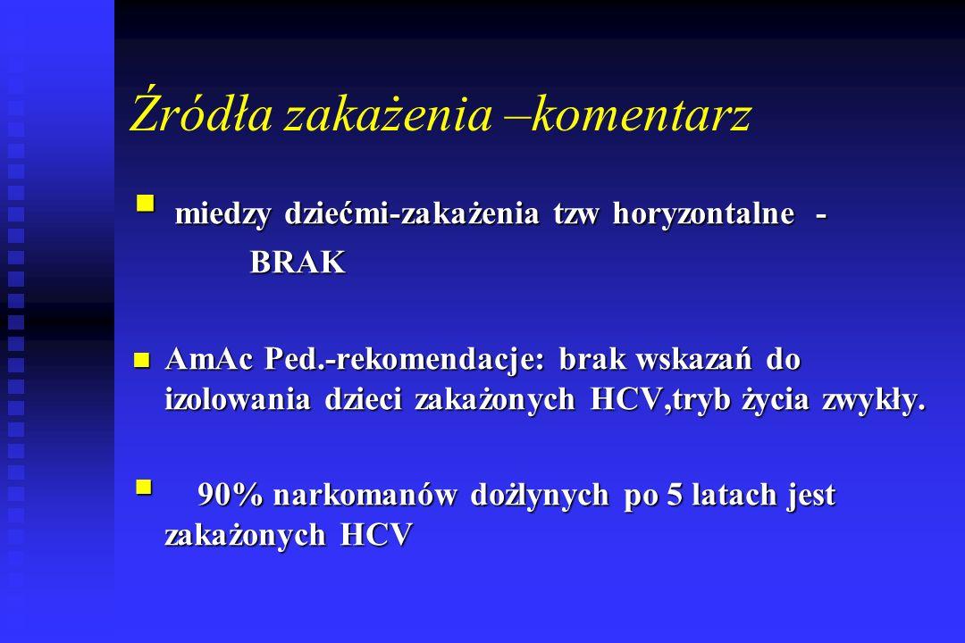 Źródła zakażenia –komentarz  miedzy dziećmi-zakażenia tzw horyzontalne - BRAK BRAK AmAc Ped.-rekomendacje: brak wskazań do izolowania dzieci zakażonych HCV,tryb życia zwykły.