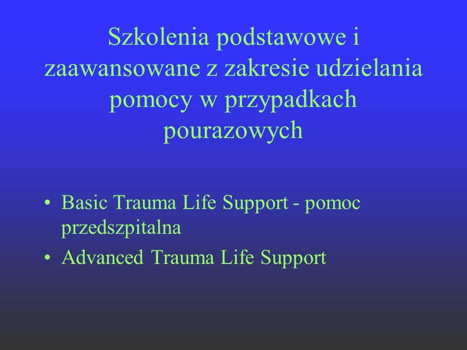 Szkolenia podstawowe i zaawansowane z zakresie udzielania pomocy w przypadkach pourazowych Basic Trauma Life Support - pomoc przedszpitalna Advanced T