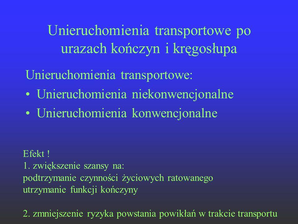 Unieruchomienia transportowe po urazach kończyn i kręgosłupa Unieruchomienia transportowe: Unieruchomienia niekonwencjonalne Unieruchomienia konwencjo