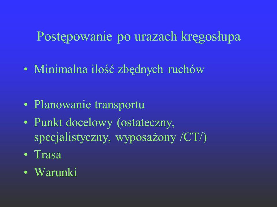 Postępowanie po urazach kręgosłupa Minimalna ilość zbędnych ruchów Planowanie transportu Punkt docelowy (ostateczny, specjalistyczny, wyposażony /CT/)