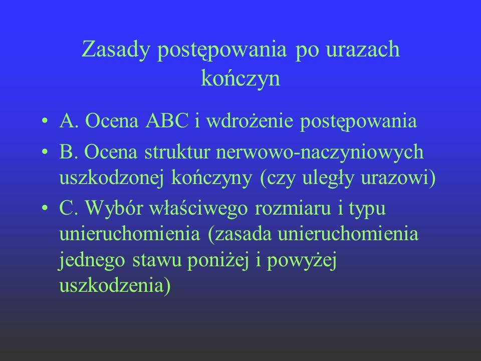 Zasady postępowania po urazach kończyn A. Ocena ABC i wdrożenie postępowania B. Ocena struktur nerwowo-naczyniowych uszkodzonej kończyny (czy uległy u