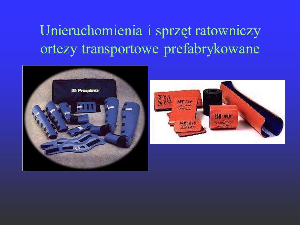 Unieruchomienia i sprzęt ratowniczy ortezy transportowe prefabrykowane