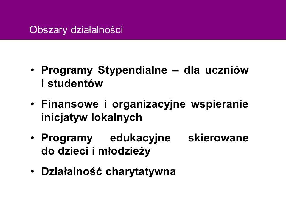 Obszary działalności Programy Stypendialne – dla uczniów i studentów Finansowe i organizacyjne wspieranie inicjatyw lokalnych Programy edukacyjne skierowane do dzieci i młodzieży Działalność charytatywna