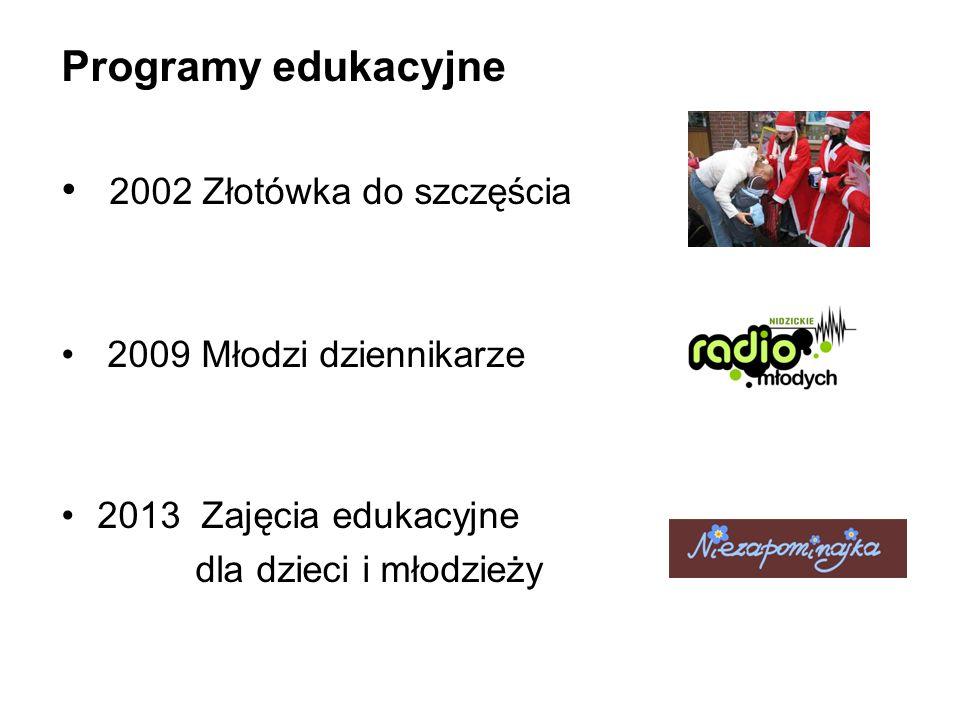 Programy edukacyjne 2002 Złotówka do szczęścia 2009 Młodzi dziennikarze 2013 Zajęcia edukacyjne dla dzieci i młodzieży