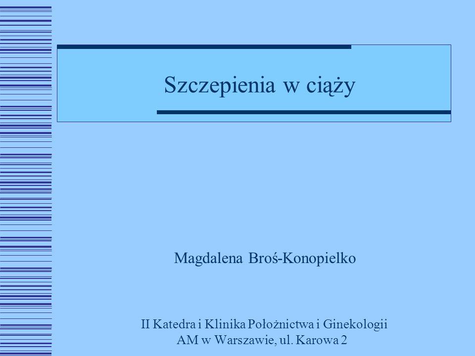 Szczepienia w ciąży Magdalena Broś-Konopielko II Katedra i Klinika Położnictwa i Ginekologii AM w Warszawie, ul.