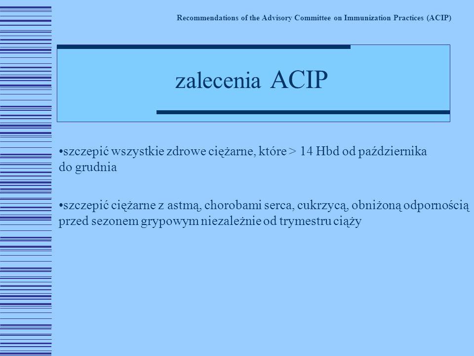 szczepić wszystkie zdrowe ciężarne, które > 14 Hbd od października do grudnia szczepić ciężarne z astmą, chorobami serca, cukrzycą, obniżoną odpornością przed sezonem grypowym niezależnie od trymestru ciąży Recommendations of the Advisory Committee on Immunization Practices (ACIP) zalecenia ACIP