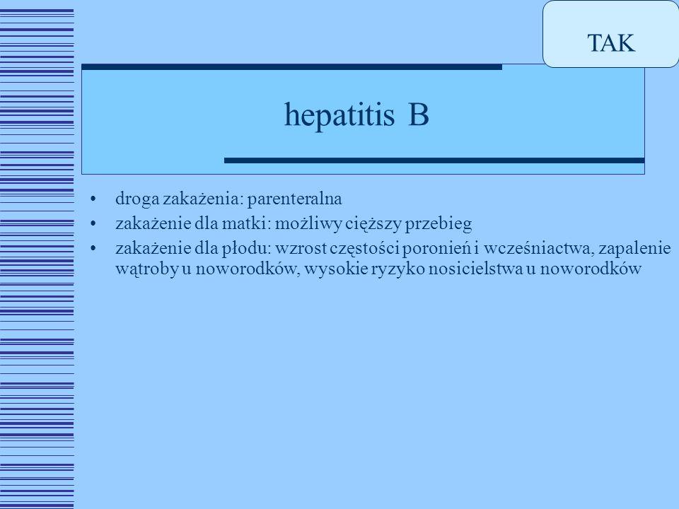hepatitis B droga zakażenia: parenteralna zakażenie dla matki: możliwy cięższy przebieg zakażenie dla płodu: wzrost częstości poronień i wcześniactwa, zapalenie wątroby u noworodków, wysokie ryzyko nosicielstwa u noworodków TAK