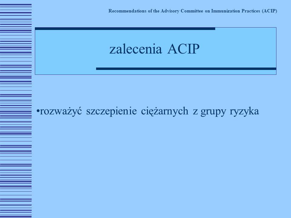 rozważyć szczepienie ciężarnych z grupy ryzyka Recommendations of the Advisory Committee on Immunization Practices (ACIP) zalecenia ACIP
