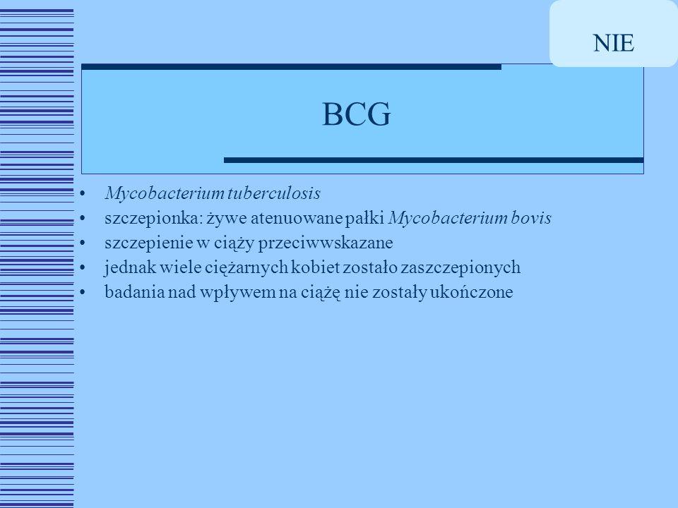 BCG NIE Mycobacterium tuberculosis szczepionka: żywe atenuowane pałki Mycobacterium bovis szczepienie w ciąży przeciwwskazane jednak wiele ciężarnych kobiet zostało zaszczepionych badania nad wpływem na ciążę nie zostały ukończone