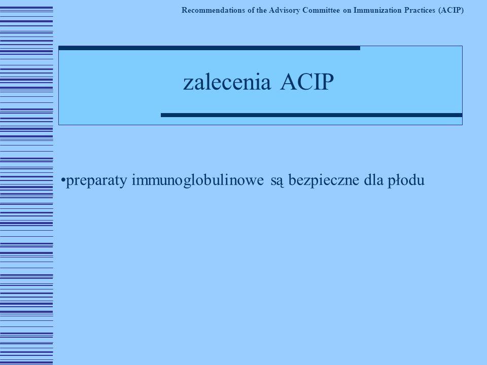 preparaty immunoglobulinowe są bezpieczne dla płodu Recommendations of the Advisory Committee on Immunization Practices (ACIP) zalecenia ACIP
