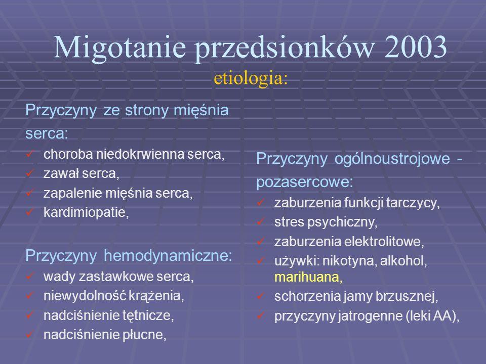 Migotanie przedsionków 2003 etiologia: Przyczyny ogólnoustrojowe - pozasercowe: zaburzenia funkcji tarczycy, stres psychiczny, zaburzenia elektrolitow