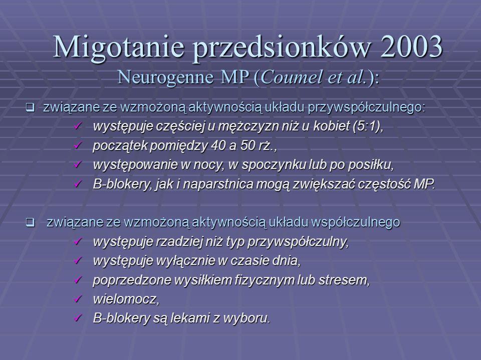 Migotanie przedsionków 2003 Neurogenne MP (Coumel et al.):  związane ze wzmożoną aktywnością układu przywspółczulnego: występuje częściej u mężczyzn