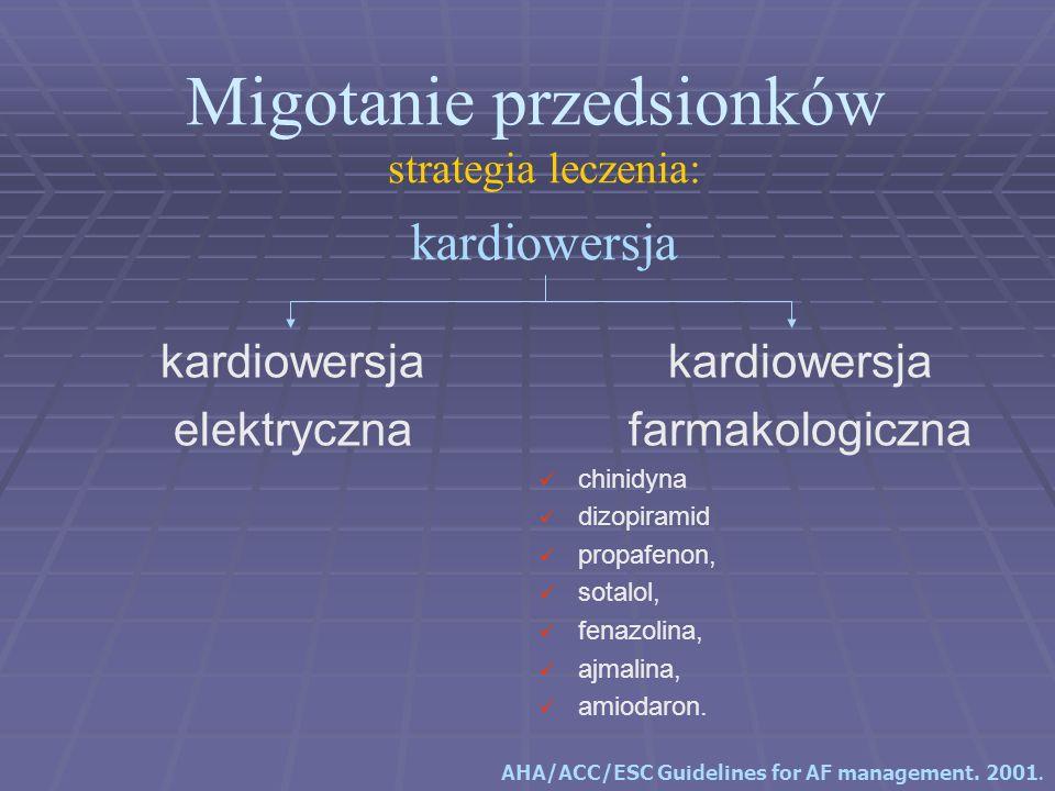 Migotanie przedsionków strategia leczenia: kardiowersja farmakologiczna chinidyna dizopiramid propafenon, sotalol, fenazolina, ajmalina, amiodaron. ka