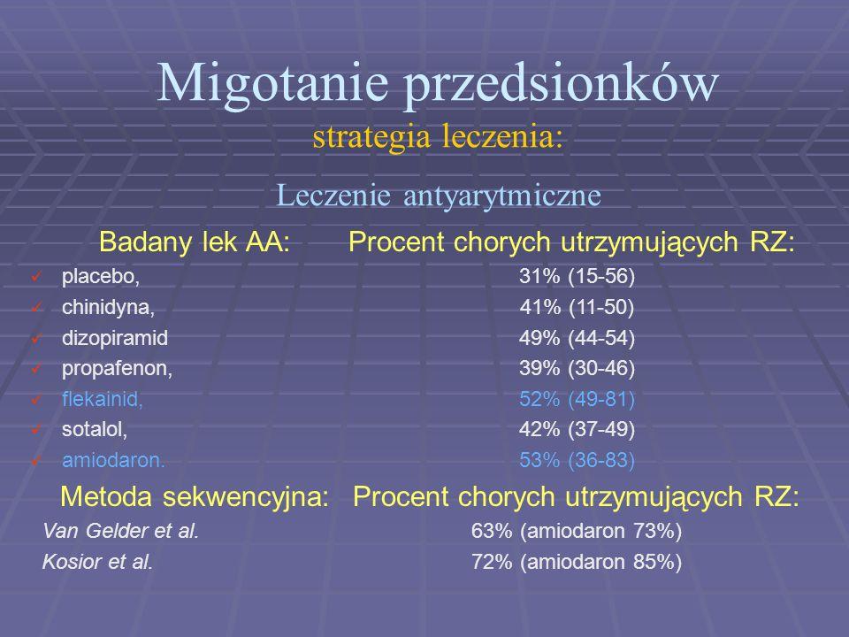 Migotanie przedsionków strategia leczenia: Leczenie antyarytmiczne Badany lek AA: placebo, chinidyna, dizopiramid propafenon, flekainid, sotalol, amio