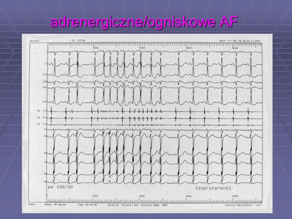 adrenergiczne/ogniskowe AF