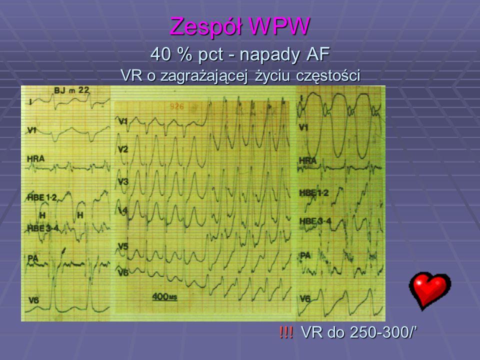 Zespół WPW 40 % pct - napady AF VR o zagrażającej życiu częstości !!! VR do 250-300/' !!! VR do 250-300/'