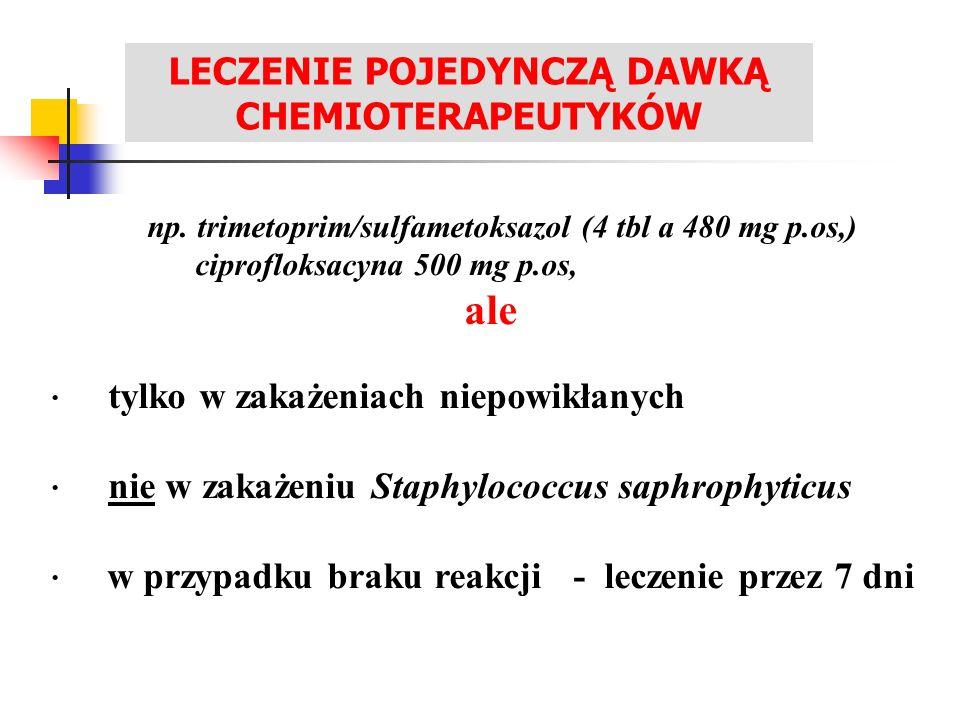 LECZENIE ZAKAŻEŃ UKŁADU MOCZOWEGO np. trimetoprim/sulfametoksazol (4 tbl a 480 mg p.os,) ciprofloksacyna 500 mg p.os, ale · tylko w zakażeniach niepow