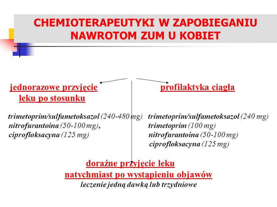 LECZENIE ZAKAŻEŃ UKŁADU MOCZOWEGO jednorazowe przyjęcie profilaktyka ciągła leku po stosunku trimetoprim/sulfametoksazol (240-480 mg) trimetoprim/sulf