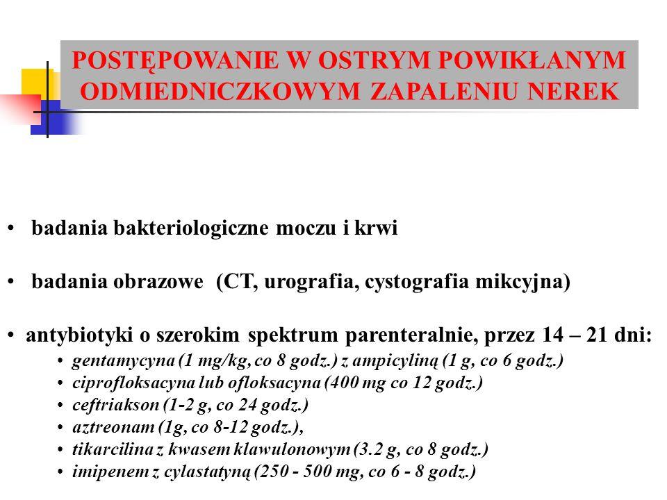 badania bakteriologiczne moczu i krwi badania obrazowe (CT, urografia, cystografia mikcyjna) antybiotyki o szerokim spektrum parenteralnie, przez 14 – 21 dni: POSTĘPOWANIE W OSTRYM POWIKŁANYM ODMIEDNICZKOWYM ZAPALENIU NEREK gentamycyna (1 mg/kg, co 8 godz.) z ampicyliną (1 g, co 6 godz.) ciprofloksacyna lub ofloksacyna (400 mg co 12 godz.) ceftriakson (1-2 g, co 24 godz.) aztreonam (1g, co 8-12 godz.), tikarcilina z kwasem klawulonowym (3.2 g, co 8 godz.) imipenem z cylastatyną (250 - 500 mg, co 6 - 8 godz.)