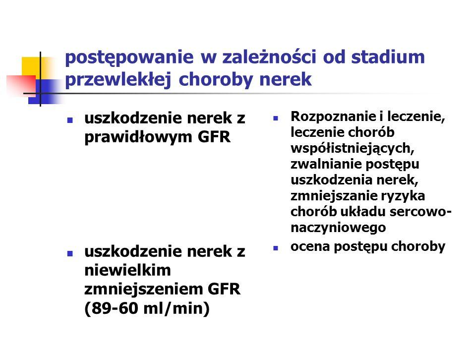 Postępowanie kliniczne w zależności od stadium przewlekłej choroby nerek -c.d umiarkowane zmniejszenie GRF (59-30 ml/min) duże zmniejszenie GFR (15-29 ml/min) schyłkowa niewydolność nerek(GFR < 15 ml/min) Ocena i leczenie powikłań przygotowanie do leczenia nerkozastępczego leczenie nerkozastępcze