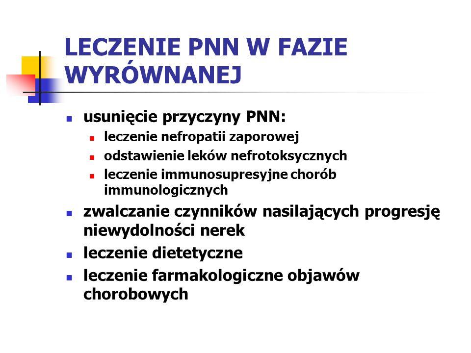 LECZENIE PNN W FAZIE WYRÓWNANEJ usunięcie przyczyny PNN: leczenie nefropatii zaporowej odstawienie leków nefrotoksycznych leczenie immunosupresyjne ch